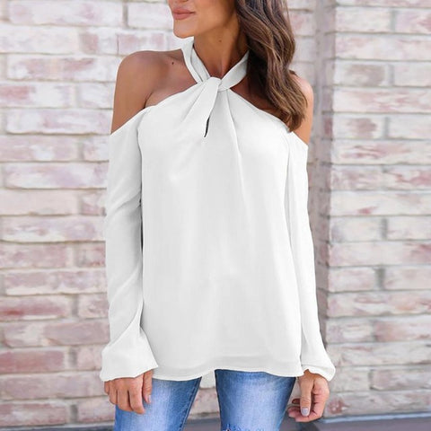 Image of Long Sleeve Twisted Halter T Shirt  Low Cut Sexy Off Shoulder shirt