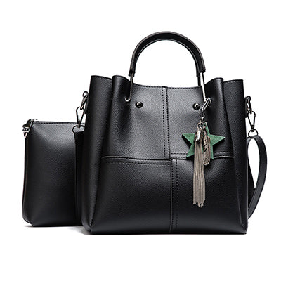 Image of New Casual Tassel Women Bag PU Leather Composite Bags Ladies large Capacity With Messenger Bags