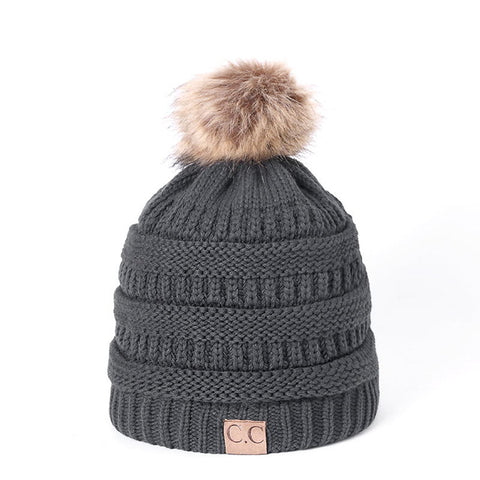 Image of Knitted Beanie with faux fur