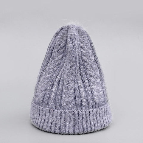 Winter Hat Real Rabbit Fur Unisex Beanie Hat