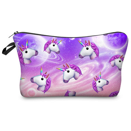 Image of Unicorn Makeup Bags Multicolor Pattern Cute Cosmetics bags