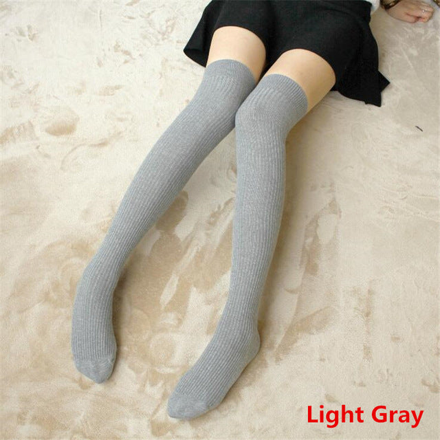 Thigh High Striped & Ribbed Sexy Women Cotton Adult Stockings  Warm Thigh High Over The Knee Socks Non-slip