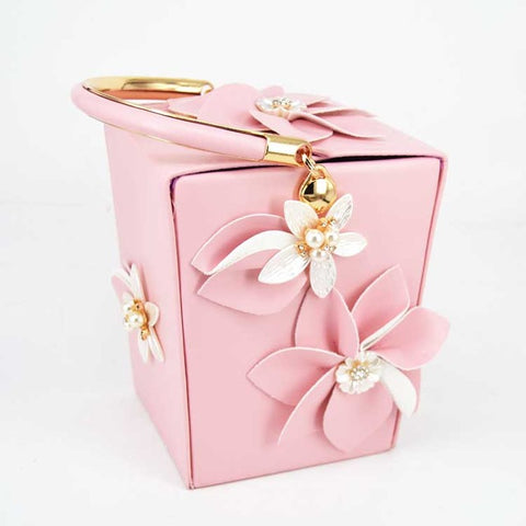 Image of Mini Tote White Flower Bucket Party Evening Bag Box Take out box Style