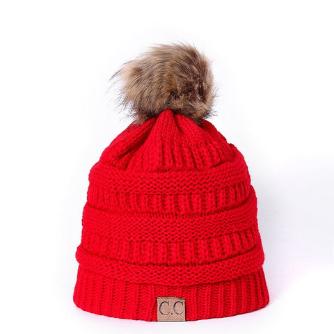Knitted Beanie with faux fur