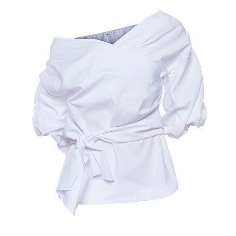 Image of Sexy V neck Off Shoulder Women Crossover Blouse
