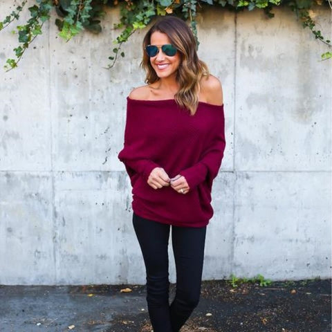 Image of Off Shoulder Oversized Winter Off Shoulder Oversized Knitted Sweaters Ladies Runway Sweaters Winter Tops