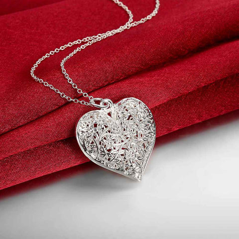Image of Free Silver Sand Flower heart pendant necklace (just pay shipping)