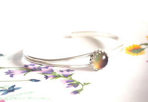 Small Round Mood Cuff Bracelet in Sterling Silver Adjustable