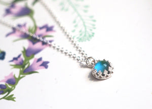 Small Crown Mood Necklace in Sterling Silver