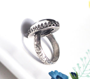 Classic Mood Ring with Antiqued Sterling Silver Floral Band