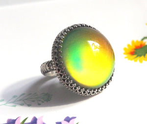 Huge Mood Ring in Antiqued Sterling Silver with Floral Band