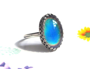 Classic Crown Mood Ring in Antiqued Sterling Silver