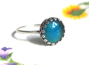 Medium Crown Mood Ring in Antiqued Sterling Silver