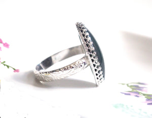 Large Crown Mood Ring with Floral Band in Sterling Silver