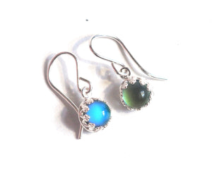 Mood Earrings, Small Crown Dangle in Sterling Silver