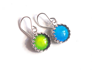 Medium Mood Earrings in Crown Dangle in Sterling Silver