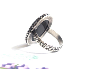 Large Crown Mood Ring with Floral Band in Antiqued Sterling Silver