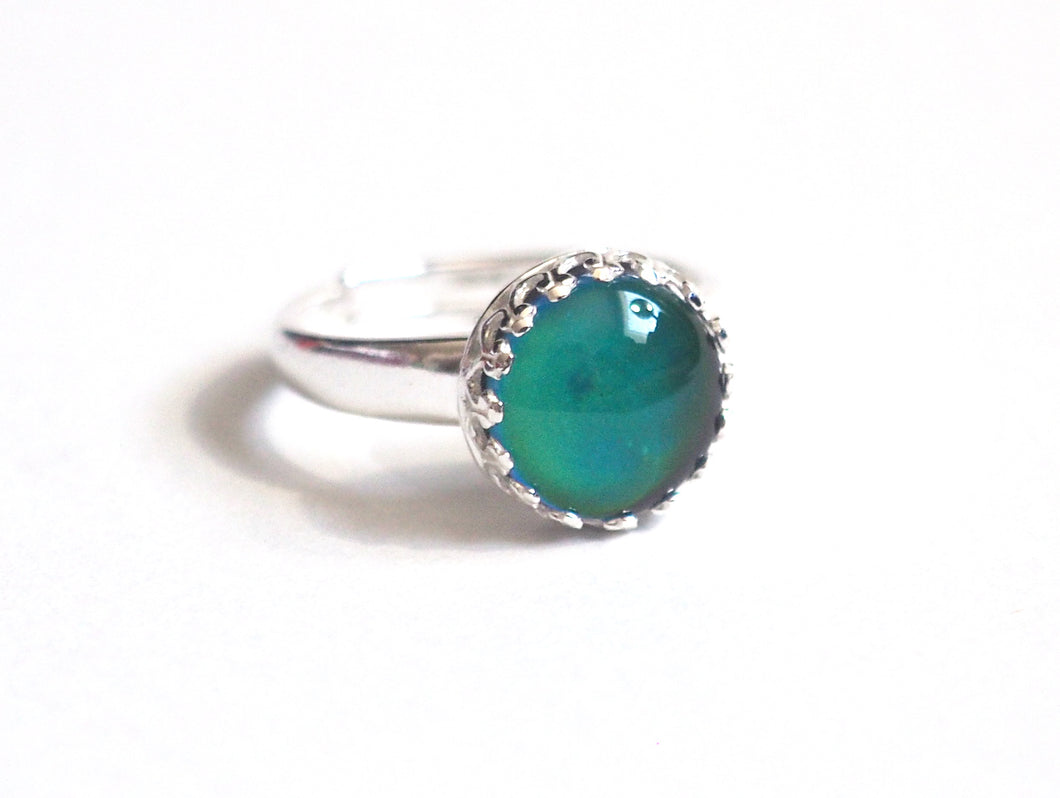 Medium Adjustable Crown Mood Ring in Sterling Silver