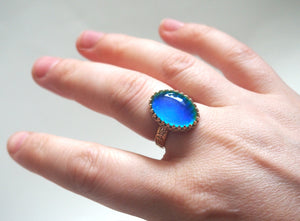 Mood Ring with 14kt Gold Floral Band, Color Changing Stone