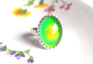 Mood Ring with Sterling Floral Band, Color Changing Stone