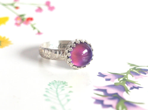 Medium Crown Mood Ring with Floral Band in Sterling Silver