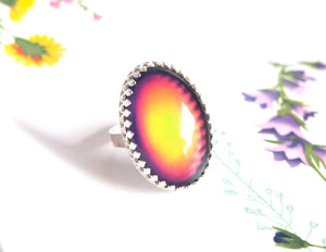 Large Crown Sterling Silver Mood Ring