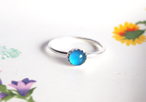 Mini Mood Ring Scalloped in Sterling Silver