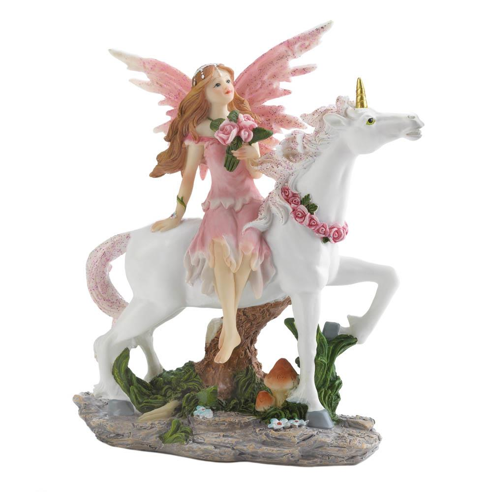 Pink Fairy with Unicorn Statue