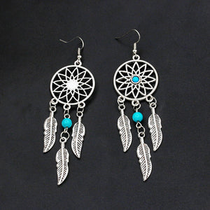 Boho Feathers Dreamcatcher Earrings