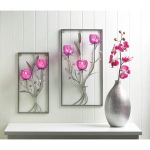 3 Candles Magenta Flower Wall Sconce
