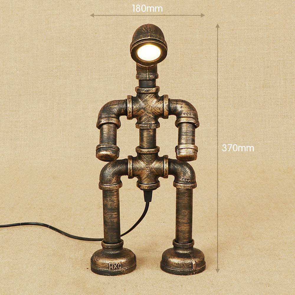 Industrial Retro Loft LED Vintage Iron Water Pipe Table Lamp ...