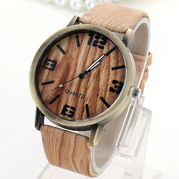 Unisex Wood Leather Strap Watch
