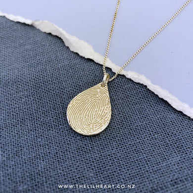 fingerprint droplet pendant New Zealand made sterling silver finger necklace