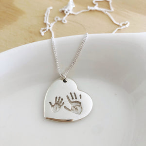 handprint pendant heart nz made sterling silver