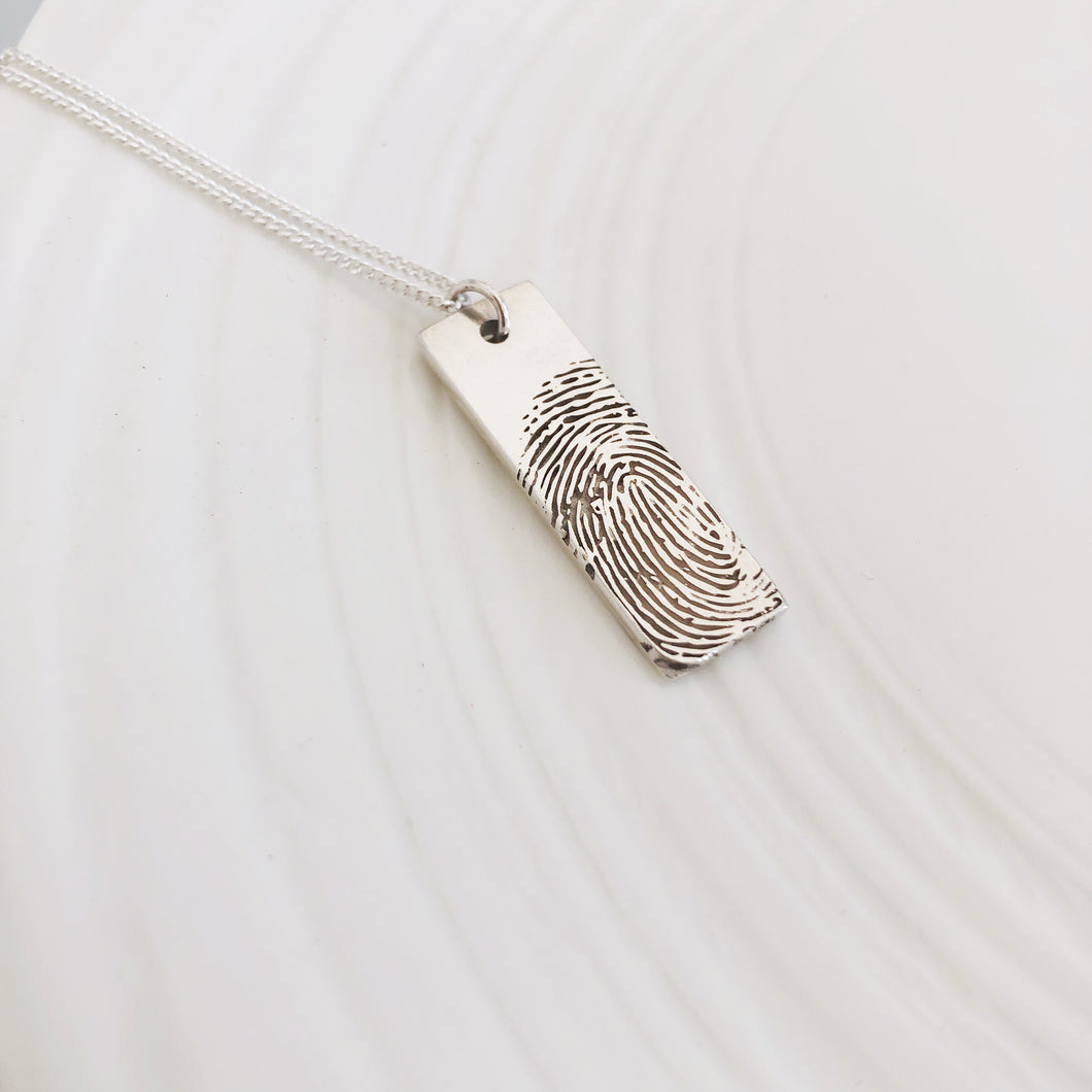 Fingerprint bar necklace sterling silver New Zealand nz