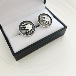 nz made handprint cufflinks for men