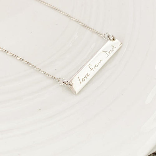 Custom engraved Handwriting bar necklace nz made