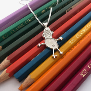 Drawing art pendant nz made sterling silver