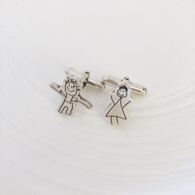 Cufflinks designed from your drawings kids artwork