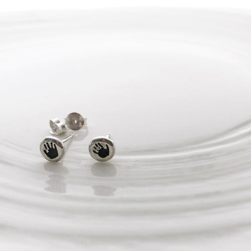 Darkened handprint stud earrings nz made
