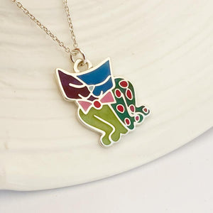 Coloured drawing pendant sterling silver nz made