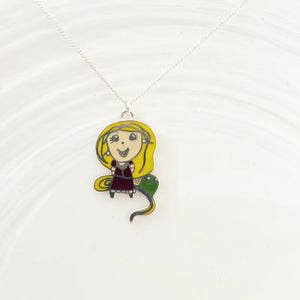 Drawing turned into jewellery pendant necklace