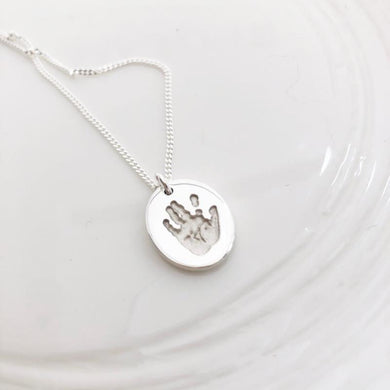 Mini Prints Oval Handprint footprint pendant baby loss infant loss nz
