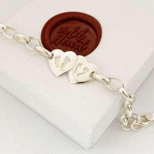 Double Heart, Handprint, Footprint bracelet - Nz made handprint and footprint fingerprint jewellery