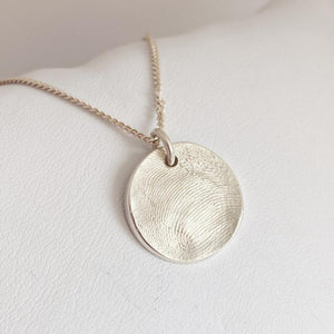 round sterling silver fingerprint pendant, New Zealand sterling silver