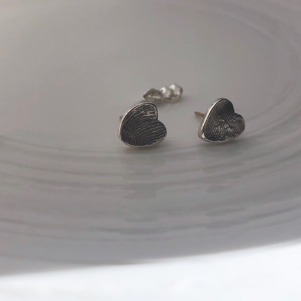 Fingerprint earrings nz made actual fingerprints in sterling silver hearts