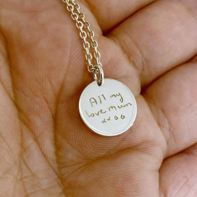 Mini Disc Handwriting pendant necklace with a loved ones handwritten message