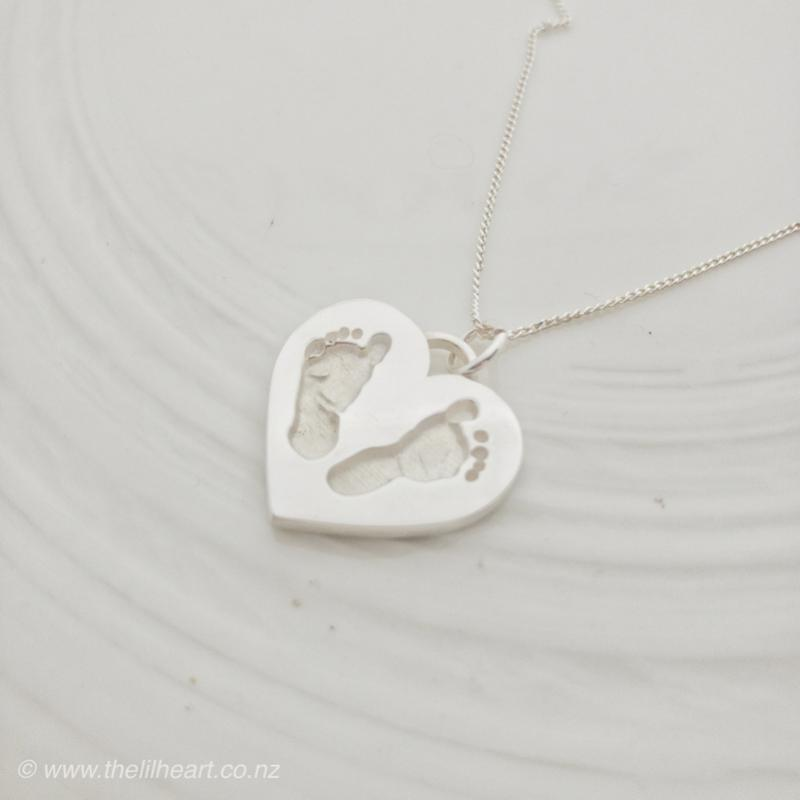 Handprint footprint baby loss pendant nz made heart