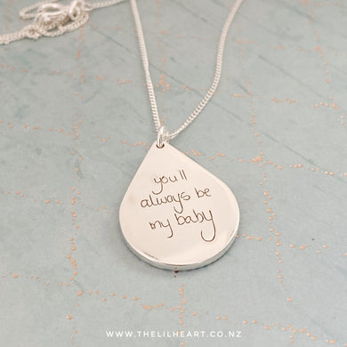 handwriting pendant with your handwriting, nz made in sterling silver