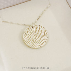 sterling silver round fingerprint pendants made in New Zealand